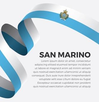 Illustrazione vettoriale di bandiera del nastro di san marino su uno sfondo bianco vettore premium