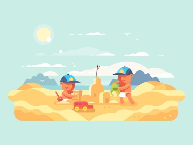 Castello di sabbia sulla spiaggia. bambino che costruisce casa. illustrazione piatta vettoriale