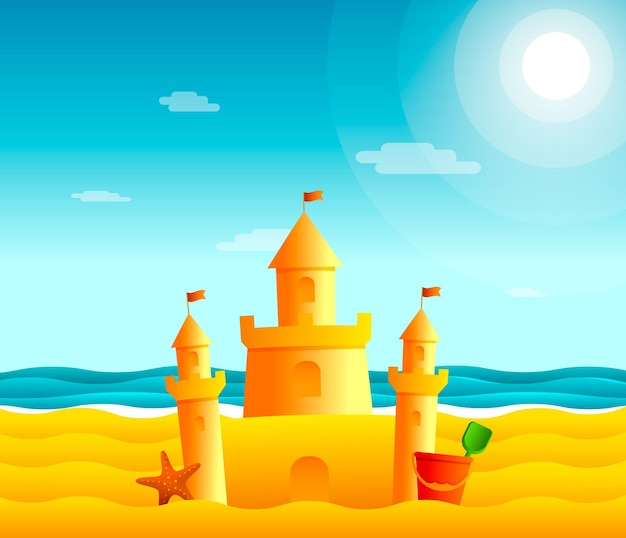 Castello di sabbia sulla spiaggia. illustrazione di paesaggio marino sea