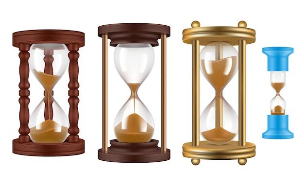 Orologi di sabbia. illustrazioni realistiche dell'oggetto di gestione degli orologi di storia d'annata delle clessidre retrò.