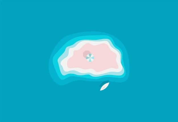 Isola selvaggia di sabbia nell'oceano azzurro con ombrellone relax da solo posto bellissima spiaggia isola paradisiaca