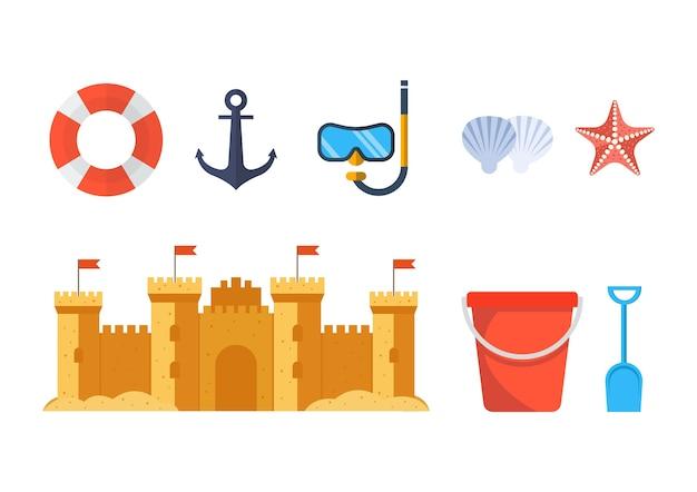 Castello di sabbia con secchio e pala per giocattoli da spiaggia. isolato su sfondo bianco. illustrazione