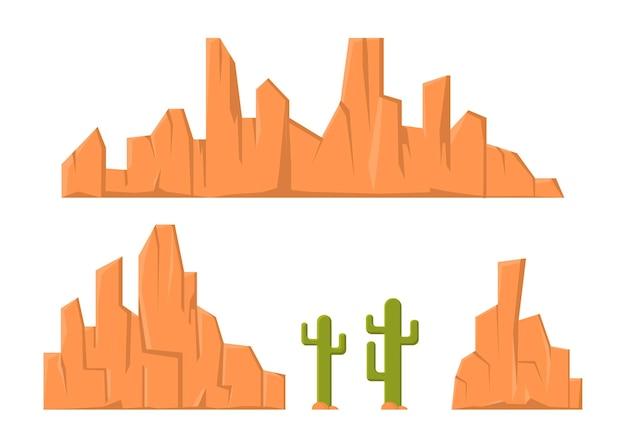 Montagna di arenaria e elemento di cactus per l'illustrazione del deserto