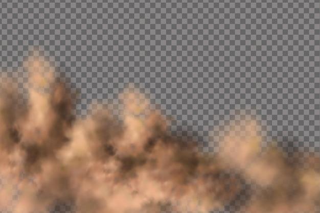 Tempesta di sabbia, una nuvola di polvere o sabbia che vola. realistico