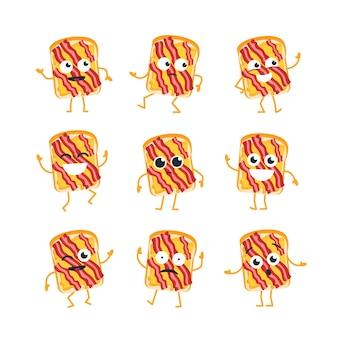 Personaggio dei cartoni animati di sandwich - set di modelli vettoriali moderni di illustrazioni di mascotte. - ballare, sorridere, divertirsi. emoticon, emozioni, sorpresa, lampeggiamento