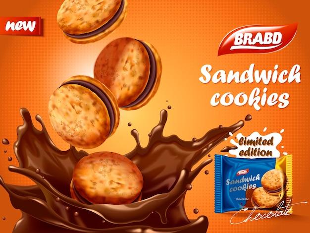 Annuncio di biscotti al cioccolato sandwich, biscotti deliziosi che si tuffano nel liquido al cioccolato con schizzi, design della confezione di biscotti
