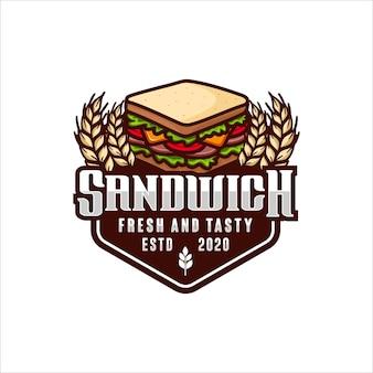 Logo di disegno vettoriale fresco e gustoso panino
