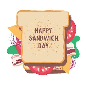 Sandwich. buona giornata del panino. illustrazione divertente di vettore nello stile del fumetto piatto. isolato su uno sfondo bianco.