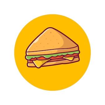 Icona sandwich. panino al prosciutto e formaggio svizzero, bianco icona cibo isolato