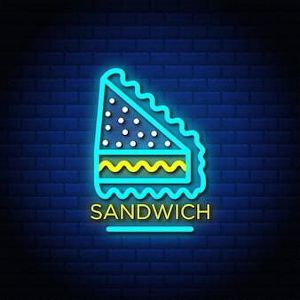 Sandwich neon canta testo in stile con muro di mattoni di colore blu.