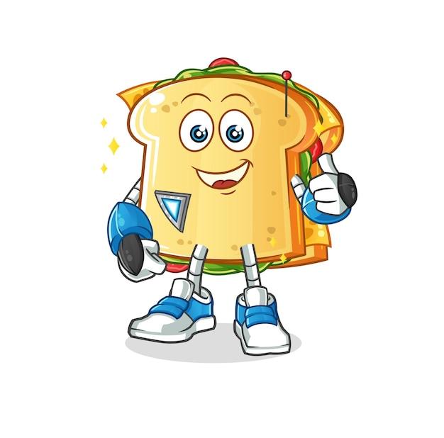 La mascotte del personaggio del robot sandwich
