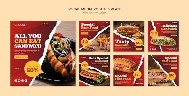 Modello di post sui social media sandwich. banner di cibo per ristorante e caffetteria