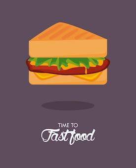 Sandwiche delizioso fast food icona illustrazione
