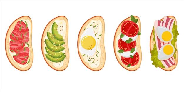 Panini o barrette con diversi condimenti. una sana colazione con pane tostato. menù merenda.