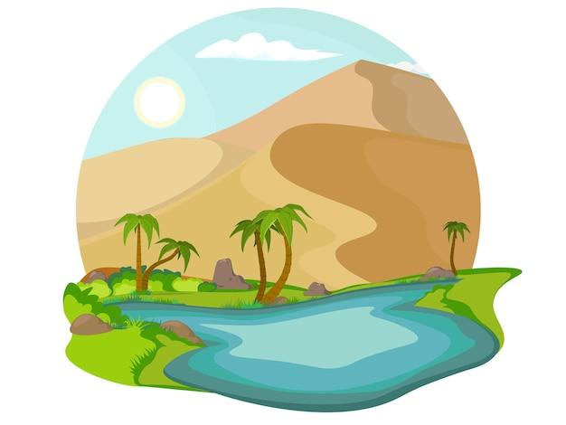 Paesaggio sabbioso con lago blu e palme. oasi nel deserto.