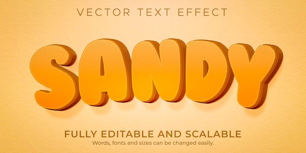 Sandy summer text effetto spiaggia modificabile e stile dell'isola