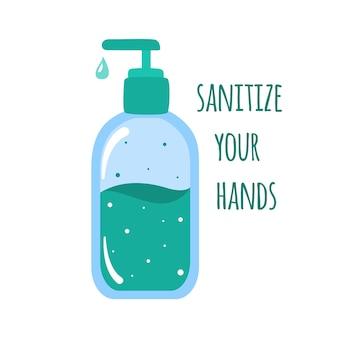 Igienizzare le mani poster. flacone disinfettante in stile piatto. prevenire la diffusione del covid-19.