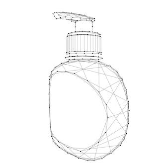 Flacone con pompa disinfettante, gel detergente da linee e punti neri poligonali futuristici astratti.