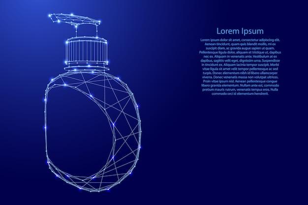 Flacone con pompa disinfettante, gel detergente dalle linee blu poligonali futuristiche e stelle luminose.
