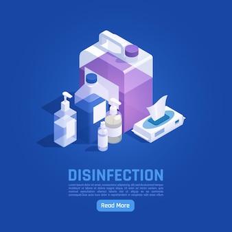 Banner isometrico igienizzante con prodotti antibatterici e apparecchiature mediche