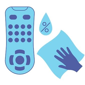 Sanificazione del telecomando della tv pulizia dell'icona del vettore di colore blu del telecomando