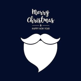 Santa barba testo di natale saluti sfondo blu