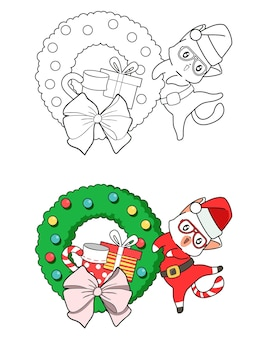 Pagina da colorare di babbo natale del fumetto per i bambini