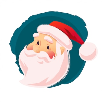 Ritratto del personaggio di santa su sfondo bianco. stile cartone animato. buon natale, felice anno nuovo elemento di decorazione di congratulazioni. buono per la carta di congratulazioni di natale.