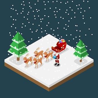 Babbo natale porta un regalo con le sue sei renne e slitta