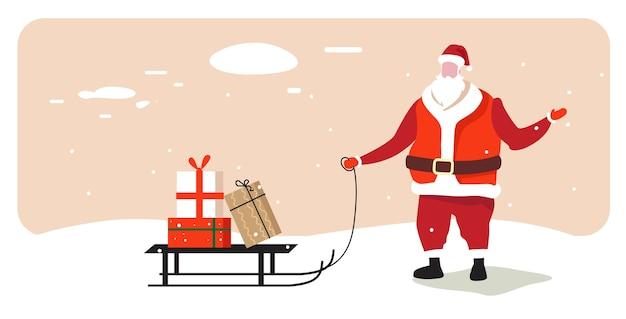 Babbo natale che trasporta la slitta con la presente casella buon natale felice anno nuovo concetto di celebrazione delle vacanze biglietto di auguri inverno paesaggio innevato illustrazione vettoriale orizzontale