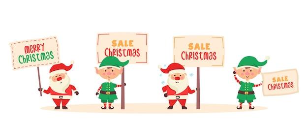 Personaggio dei cartoni animati di babbo natale con banner. un insieme di divertenti personaggi di babbo natale ed elfi felici tiene un cartello con
