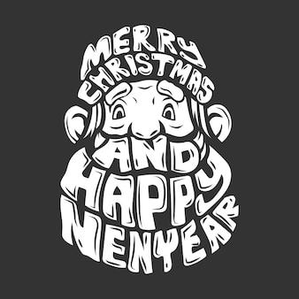 Il personaggio di babbo natale celebra l'illustrazione di buon natale e felice anno nuovo