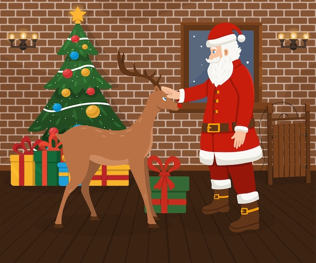 Babbo natale e cervi di natale, albero di natale decorato e regali.