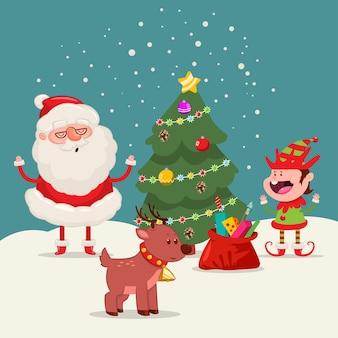 Illustrazione del fumetto di babbo natale, albero di natale, renne ed elfi sul paesaggio invernale.