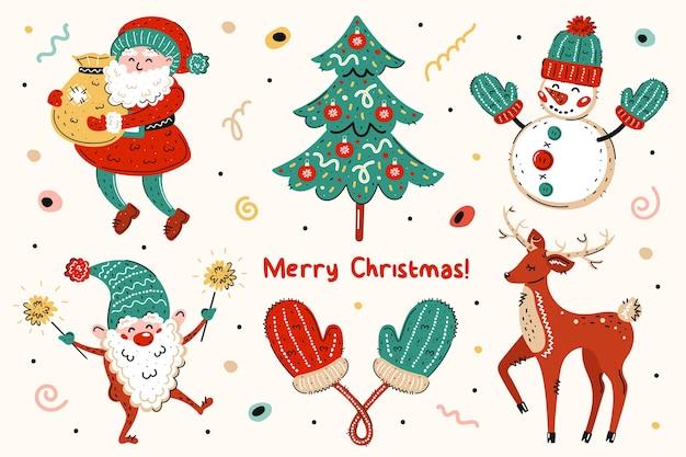 Babbo natale, albero di natale, pupazzo di neve, elfo, guanti, cervo. buon natale, anno nuovo.