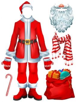 Costume da babbo natale e accessori natalizi: cappello, guanti, barba, stivali, borsa con regali, bastoncino di zucchero a righe, sciarpa