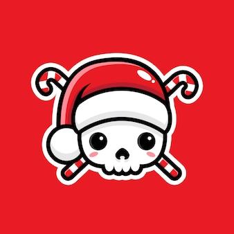 Simbolo del pirata carino di babbo natale isolato sul rosso