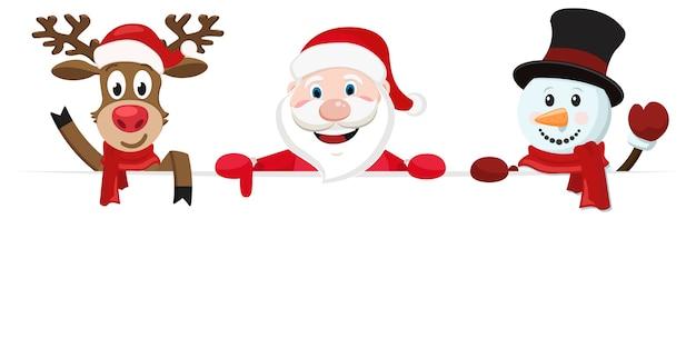 Babbo natale, un cervo e un pupazzo di neve si affacciano da dietro un lenzuolo bianco e un'onda. biglietto natalizio.