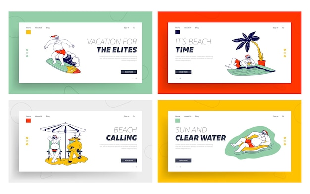 Babbo natale e cervi in vacanza landing page template set.