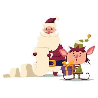 Babbo natale e il personaggio dei cartoni animati dell'elfo isolato su bianco.