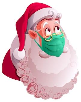 Il babbo natale nella mascherina medica verde è protetto dal covid 19. isolato sull'illustrazione bianca del fumetto