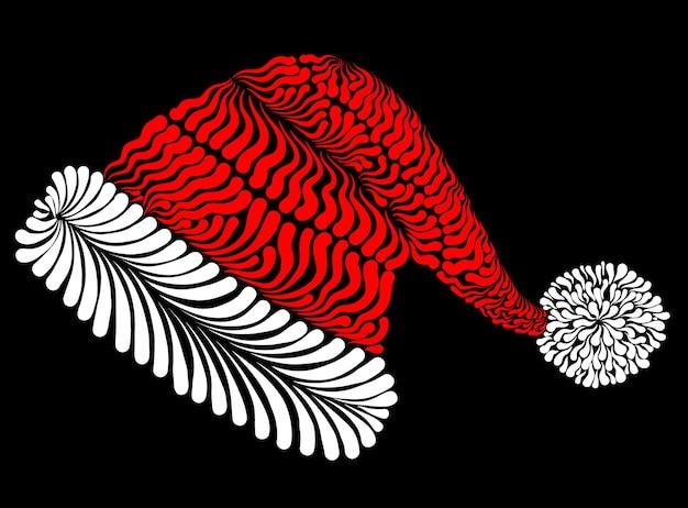 Cappello di babbo natale decorativo stilizzato illustrazione vettoriale