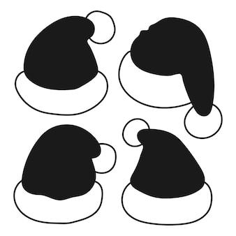 Set di icone nere di vettore di cappelli di babbo natale isolato su uno sfondo bianco