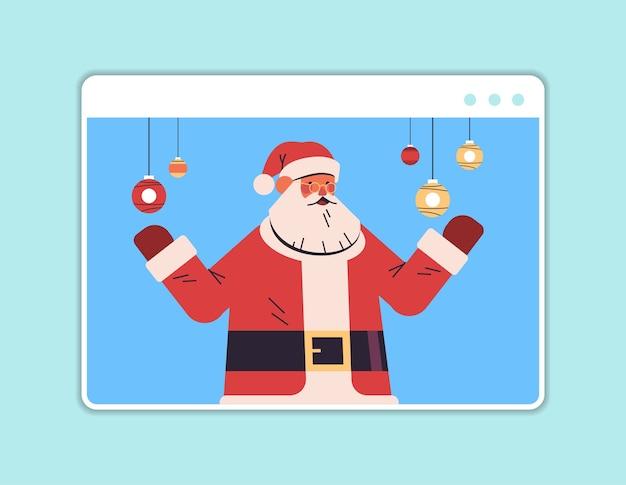 Babbo natale si diverte felice anno nuovo e buon natale vacanze celebrazione concetto web browser finestra ritratto orizzontale illustrazione vettoriale