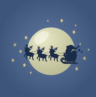 Babbo natale sulla sua slitta di natale con le sue renne nel cielo notturno illuminato dalla luna. illustrazione. su sfondo bianco.