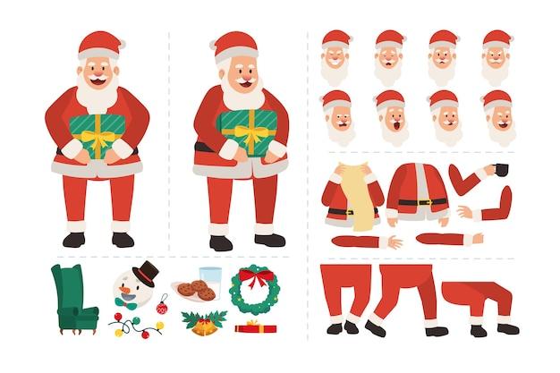 Babbo natale che tiene il regalo di natale. carattere per il design dell'animazione con varie espressioni facciali, gesti delle mani, movimento del corpo e delle gambe