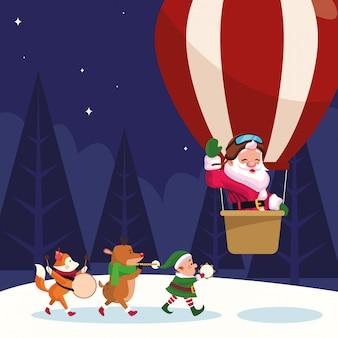 Il babbo natale in una mongolfiera e gli animali di natale che giocano gli strumenti musicali durante la notte dell'inverno