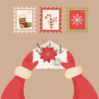 Babbo natale tiene in mano una lettera. biglietto di auguri per le vacanze invernali. illustrazione di cartone animato.