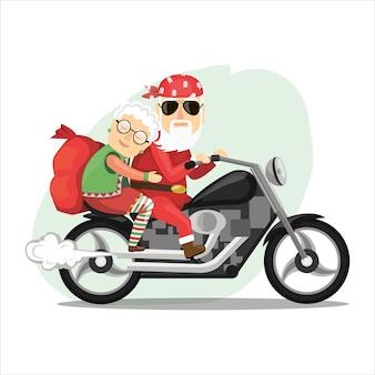 Babbo natale e la signora claus in sella a una motocicletta ripida. in uno stile piatto.