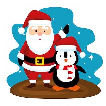 Babbo natale e pinguino con cappello a buon natale